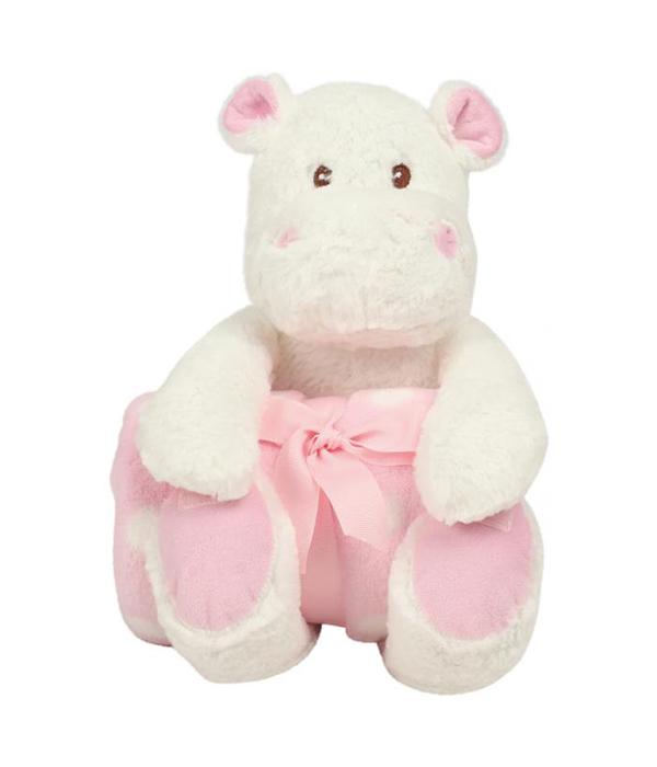 Peluche hippopotame rose
